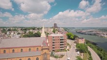 Ascending Aerial Shot, Showing The St. Mary Of The Mount Church In Pittsburgh.