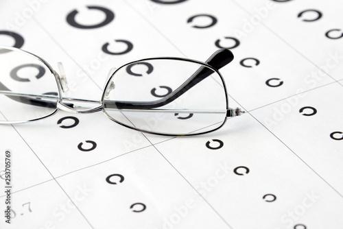 Obraz  眼鏡と視力検査表 - fototapety do salonu