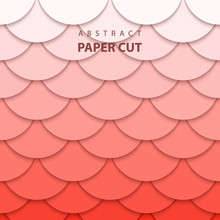 Vector Background With Pastel Coral Trend Color Paper Cut Shapes. 3D Abstract Paper Art Style, Design Layout For Business Presentations, Flyers, Posters, Prints, Decoration, Cards, Brochure Cover.