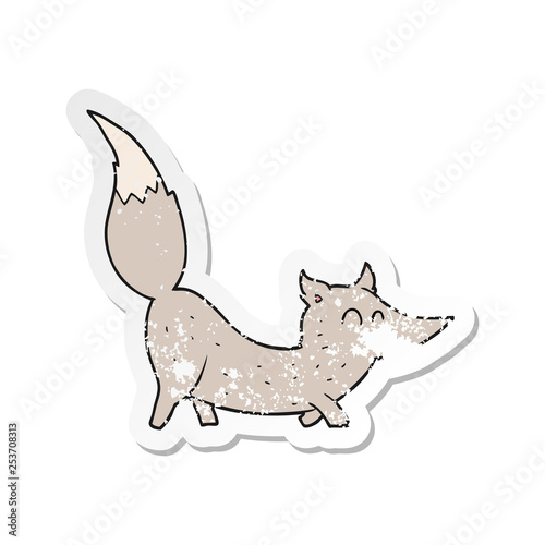 retro distressed sticker of a cartoon little wolf