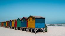 Beach Huts At Muizenberg Beach In Cape Town, South Africa