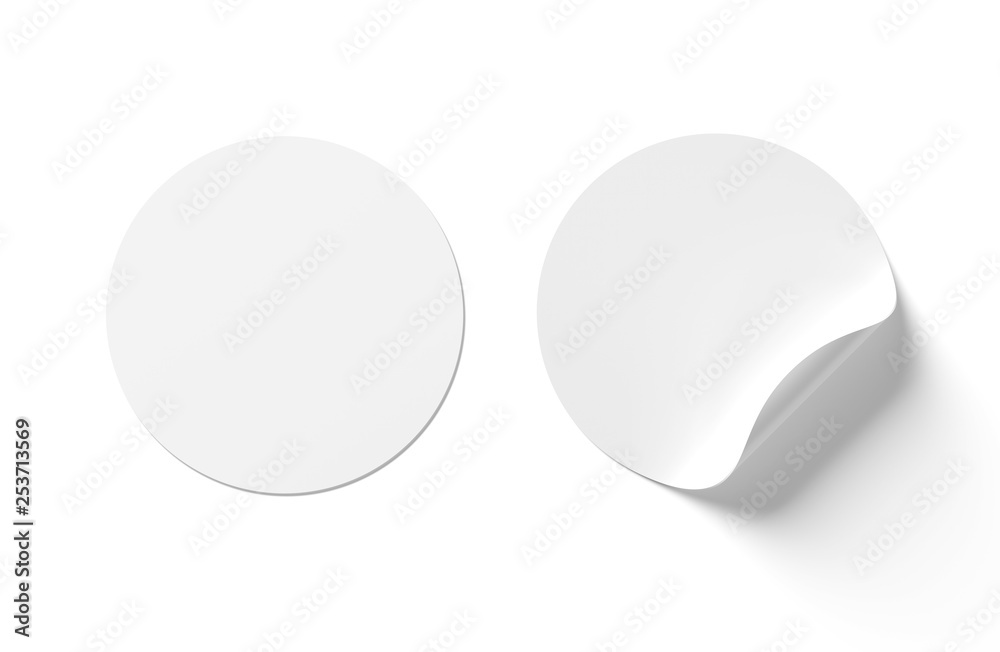 Fototapety, obrazy: Blank curled sticker mockup isolated on white 3D rendering