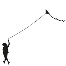 Boy Flying Kite, Silhouette Vector