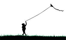 Boy Flying Kite, Silhouette Vector