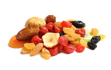 Different Dried Fruits On White Background. Healthy Lifestyle