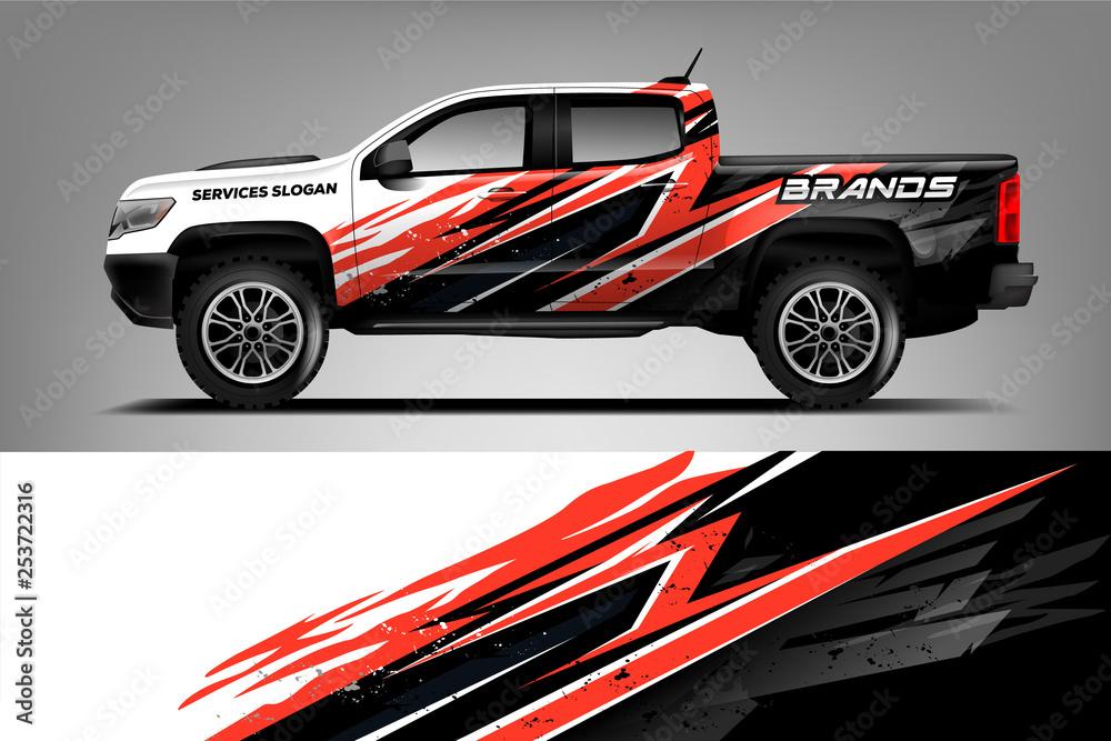 Fototapeta Company Truck wrap design. Custom livery wrap design for Company truck. ready print vector eps. - Vector