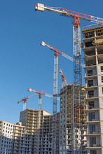 Hight Construction Cranes, Large-scale Construction Of A Residential Complex