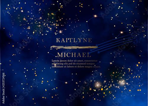 Photo Magic night dark blue sky with sparkling stars vector wedding invitation