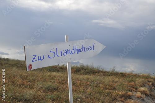 Fotografía  Schild Strandhochzeit Hochzeit wegweiser
