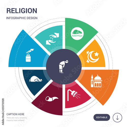 Photo  set of 9 simple religion vector icons