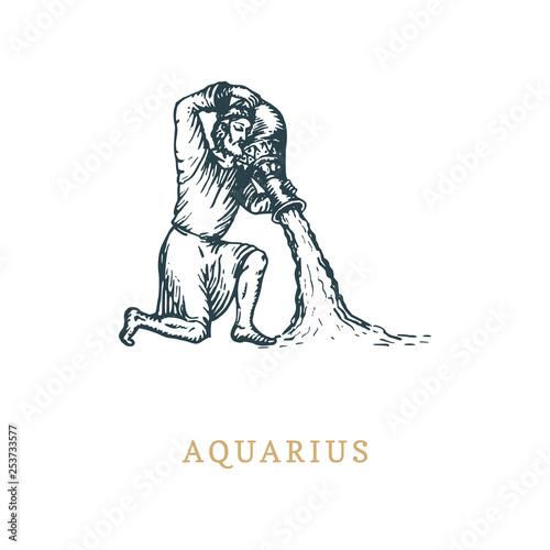 Photo Aquarius zodiac symbol,hand drawn in engraving style