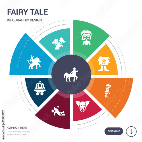 фотография set of 9 simple fairy tale vector icons