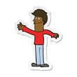 sticker of a cartoon happy man waving