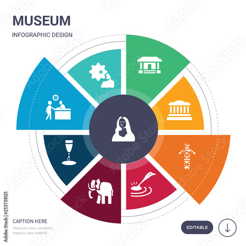 set of 9 simple museum vector icons Fototapet