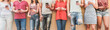 Leinwanddruck Bild Teenager friends watching videos on smartphones - Main focus on center hands