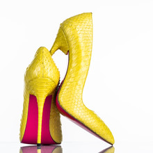 Fashionable Woman's High Heel Shoe Isolated On White Background.