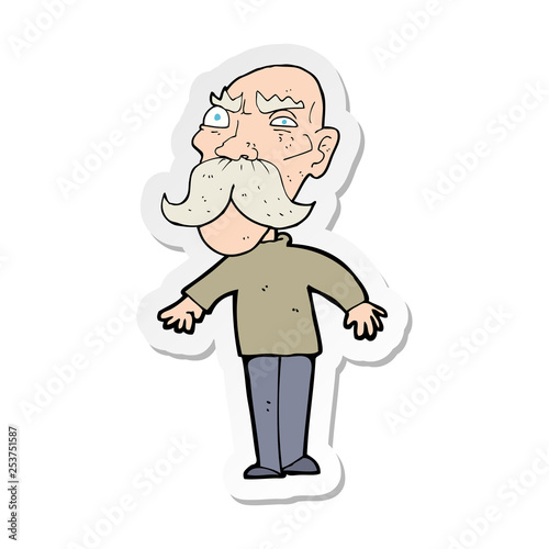 Photo  sticker of a cartoon angry old man