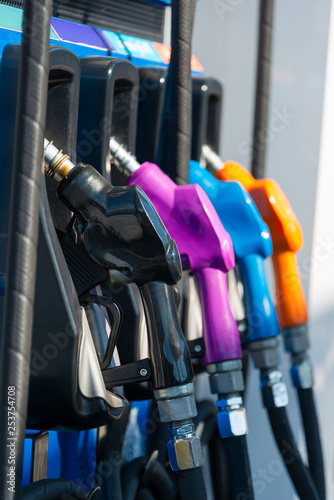 Fotografía  Colorful of Petrol fuel separation dispensing pump for filling nozzles system in