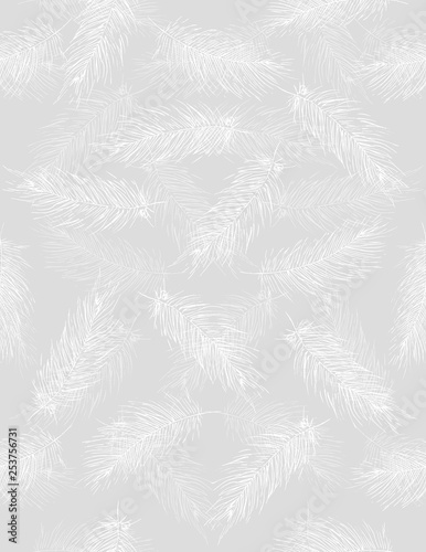 Plissee mit Motiv - Delicate Hand Drawn Flying Feather Vector Pattern. White Feathers on a Light Gray Background. Fluffy Feathers Pastel Color Design. (von Magdalena)
