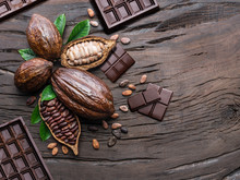 Cocoa Pod, Cocoa Beans And Cho...