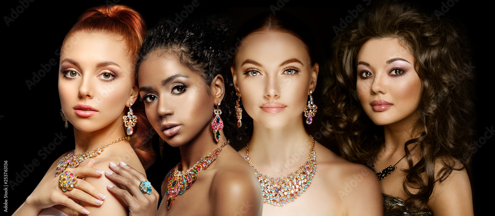 Fototapeta Beautiful Four models girls with set of Jewelry. Luxury girls in shine jewellry: Eearrings, Necklace, and Ring. Women in jewelry from Gold, Precious Stones, Siamonds. Beauty and accessories.