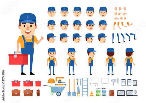 Obraz Worker, mechanic, builder creation kit. Create your own pose, action, animation. Various emotions, gestures, design elements. Flat design vector illustration - fototapety do salonu