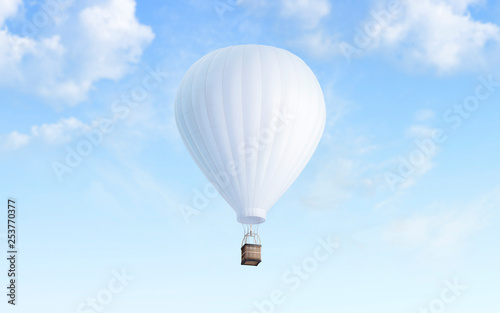 Fotografija Blank white balloon with hot air mockup on sky background, 3d rendering