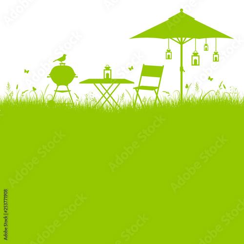 Foto auf Gartenposter Lime grun Garten Barbecue Umriss Grün
