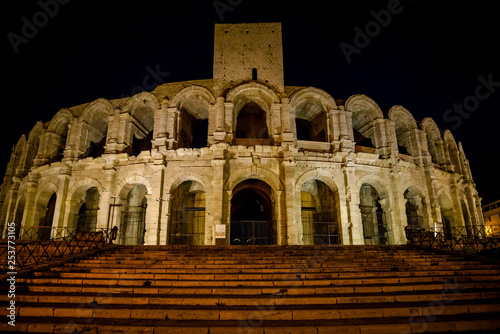 Amphitheatre at night, Arles, Bouches-du-Rhone, France Canvas Print