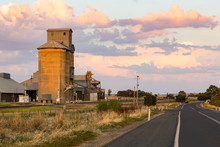 Silo Along A Railway Line For Agricultural Grain Storage In Outback Australia.