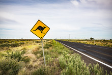 Kangaroo Warning Sign Post Along An Isolated Outback Road. South West New South Wales.