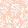 Seamless tropical pattern with white palm leaves on the yellow background. Vector summer exotic illustration of a flamingo for kids, textiles, nursery, birthday, shower, paper, clothes, fabric