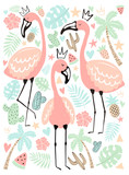 Vector illustration tropical flamingos in the leaves, palm, fruit. Summer hand-drawn poster for kids, holidays, clothes, decor. - 253776359