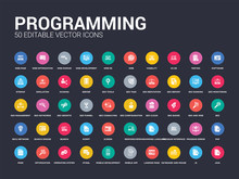 50 Programming Set Icons Such As Java, Js, Keyboard And Mouse, Landing Page, Mobile App, Mobile Development, Mysql, Operating System, Optimization. Simple Modern Isolated Vector Icons Can Be Use For