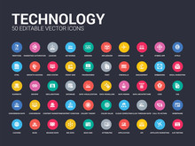 50 Technology Set Icons Such As A/b Testing, Affiliate Marketing, Api, Application, Attributes, Back End, Big Data, Bounce Rate, Bugs. Simple Modern Isolated Vector Icons Can Be Use For Web Mobile