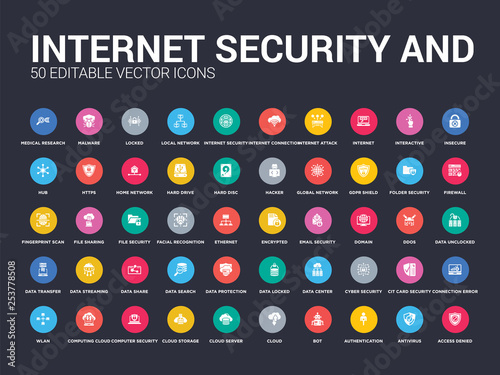 50 internet security and set icons such as access denied, antivirus, authentication, bot, cloud, cloud server, cloud storage, computer security, computing simple modern isolated vector icons can be