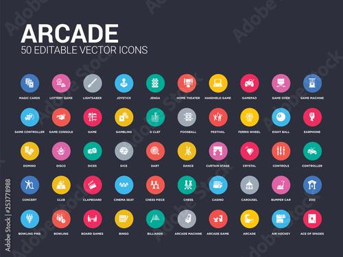 Fotomural  50 arcade set icons such as ace of spades, air hockey, arcade, arcade game, machine, billiards, bingo, board games, bowling
