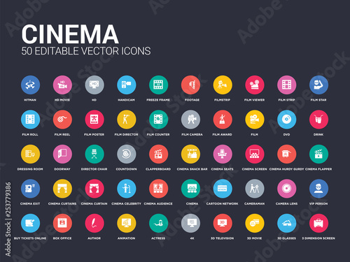 Valokuva  50 cinema set icons such as 3 dimension screen, 3d glasses, 3d movie, 3d television, 4k, actress, animation, author, box office