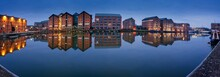 Gloucester Docks Warehouses Reflected In Quay On Sharpness Cana