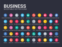 50 Business Set Icons Such As Ordinary Residence, Ordinary Share, Organisation For Economic Cooperation And Development, Organisation Of Petroleum Exporting Countries (opec), Overdraft, Wall Street,