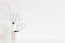 Flower In White, Design Vase Against White Wall. Mock Up
