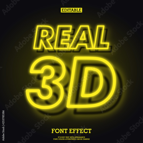 yellow outline neon font, glowing alphabet with shadow with full character, game movie character logo type design