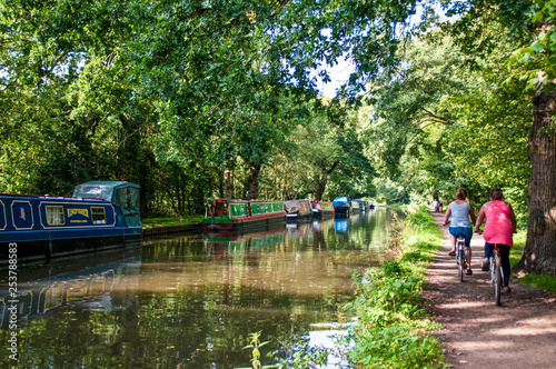 Cuadros en Lienzo Narrow boats moored on River Wey Navigation and cyclists on towpath, Surrey, Eng