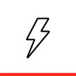 Lightning vector icon, thunder symbol. Simple, flat design for web or mobile app