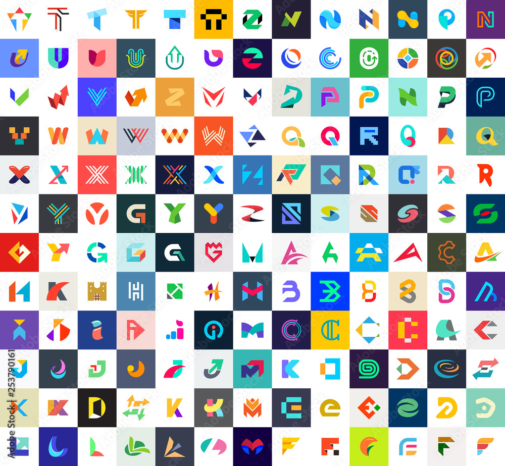 Fototapety, obrazy: Abstract logos collection with letters. Geometrical abstract logos