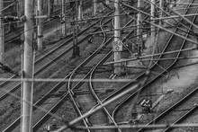 Switches, Track Systems And Overhead Lines Of A Railway Line In Germany