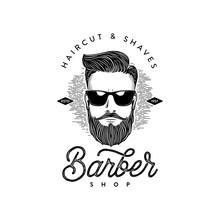 Barber Shop Beard Man White Vector Illustration