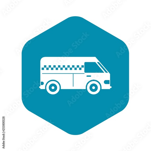 Fotografie, Obraz  Minibus taxi icon in simple style isolated on white background