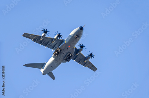 Military aircraft landing at the airport Berlin-Tegel over the residential area Canvas Print