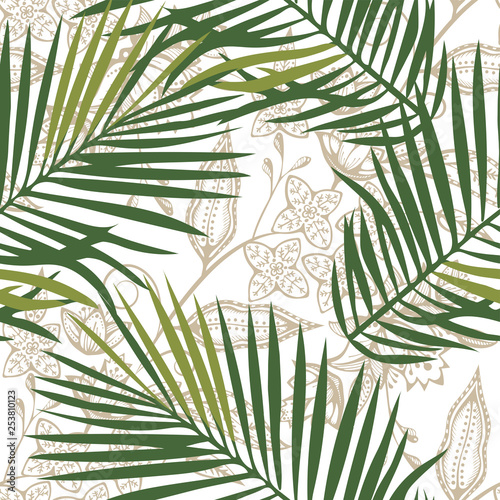 Ingelijste posters Tropische Bladeren Tropical wildlife seamless pattern. Madagascar flowers ornament. Vector pattern.